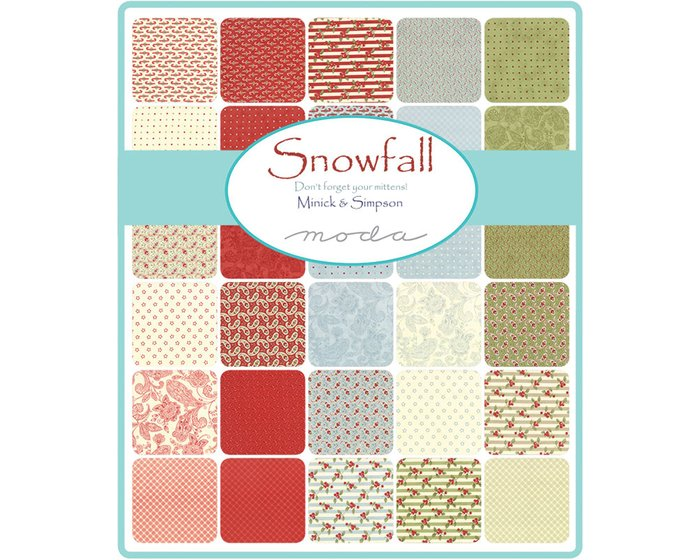 Patchworkstoff SNOWFALL PRINTS, Paisleys, stumpfes hellblau-stumpfes rot