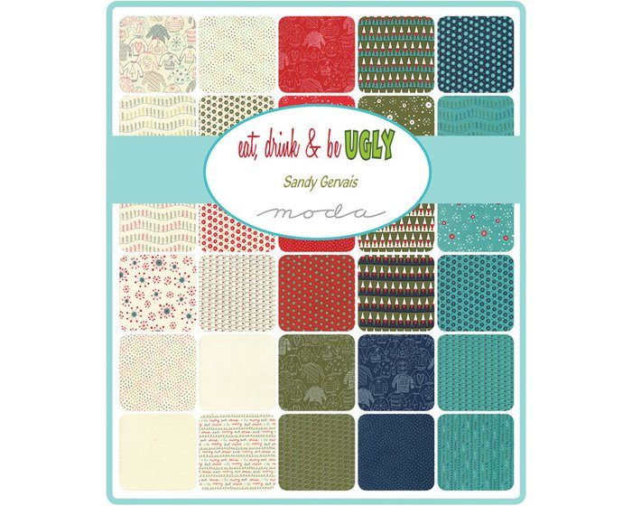 60-cm-Rapport Patchworkstoff EAT, DRINK & BE UGLY, Weihnachtspullover, stumpfes dunkelblau-rot
