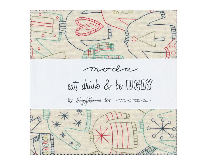 Precuts Charm Pack EAT, DRINK & BE UGLY, 12,5 x 12,5 cm, 42 Quadrate