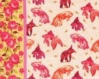 Patchworkstoff NEPTUNE & THE MERMAID, Goldfische, fuchsia-orange
