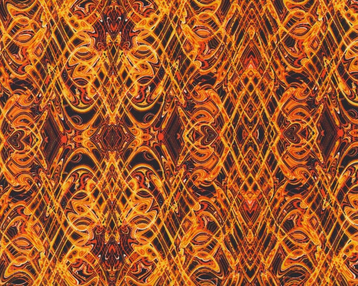 Patchworkstoff KISMET FLASH DANCE, Wellen-Kaleidoskop-Muster, orange