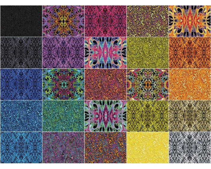Patchworkstoff KISMET FLASH DANCE, Wellen-Kaleidoskop-Muster, aquablau