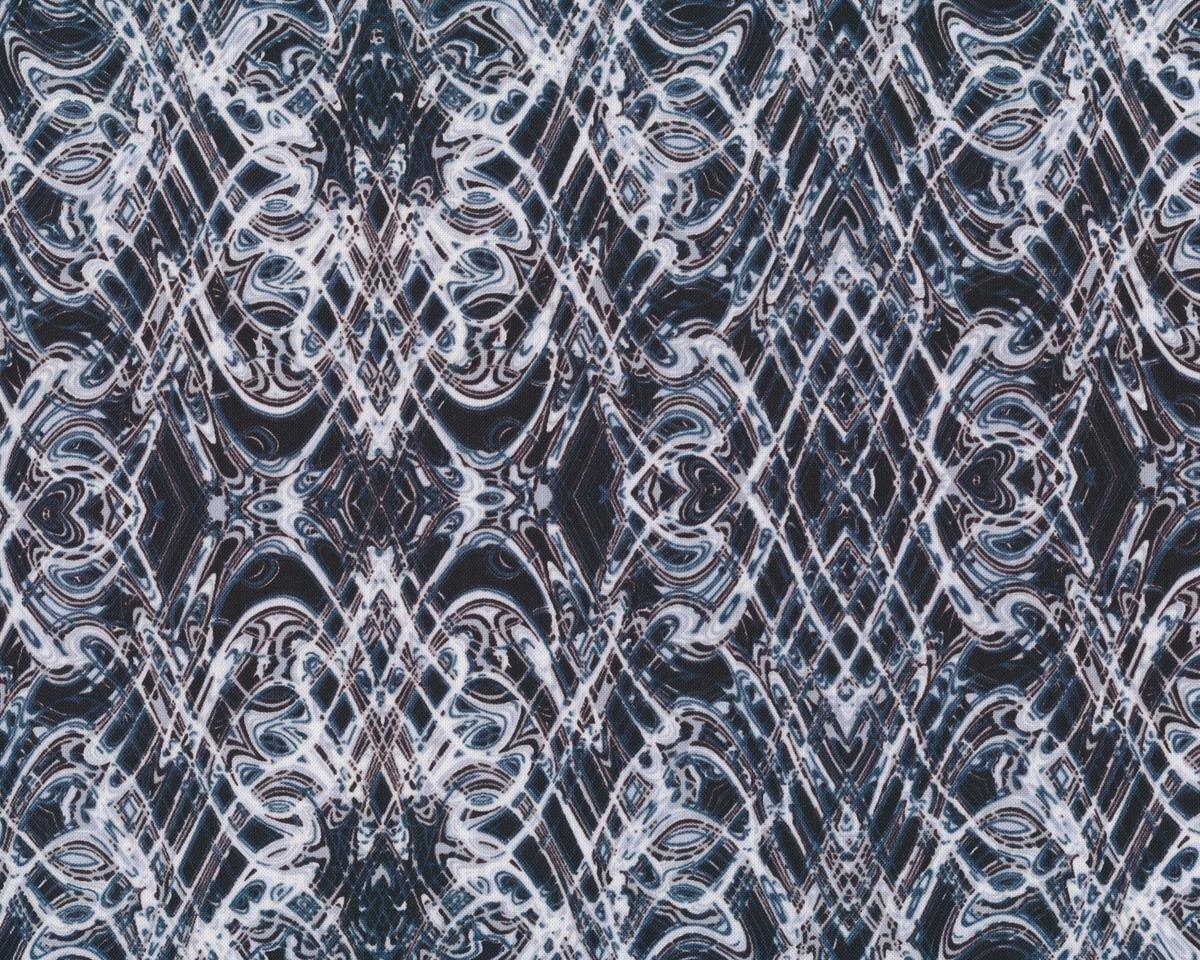 Patchworkstoff KISMET FLASH DANCE, Wellen-Kaleidoskop-Muster, hellgrau