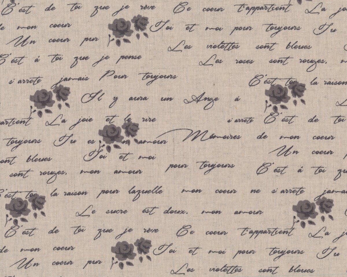 Kissenbezüge Mit Schrift : halbleinen dekostoff shabby chic schrift und rosen natur ~ Lizthompson.info Haus und Dekorationen