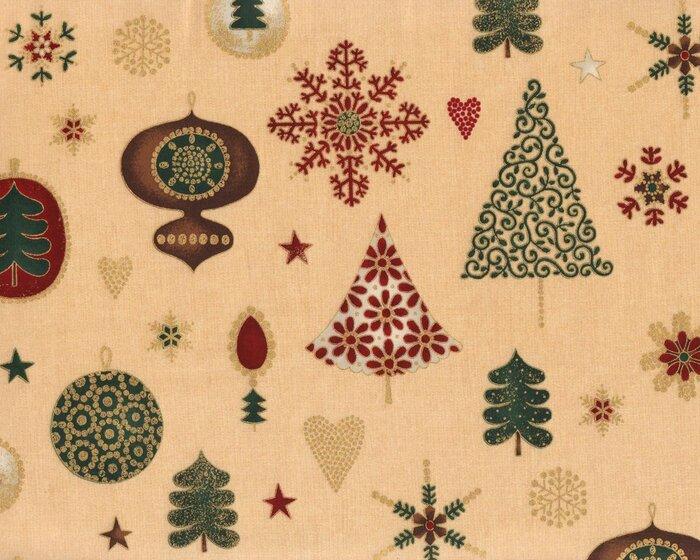 Metallic-Patchworkstoff MAGICAL MOMENTS, Weihnachtsschmuck, beige ...