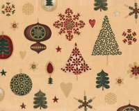 Metallic-Patchworkstoff MAGICAL MOMENTS, Weihnachtsschmuck, beige-gold metallic