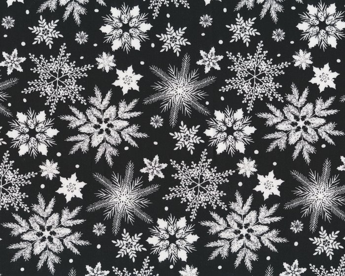 Patchworkstoff HOLIDAY HOMECOMING Eiskristalle Schwarz Weiss
