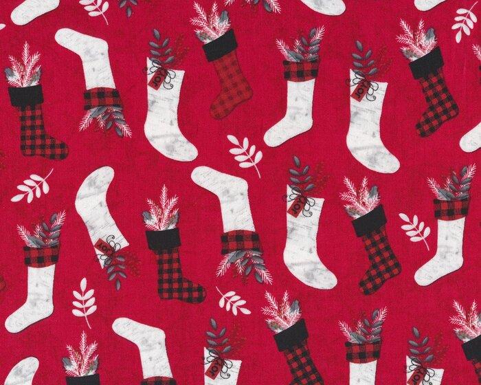 Patchworkstoff HOLIDAY HOMECOMING, Weihnachts-Strümpfe, rot-schwarz