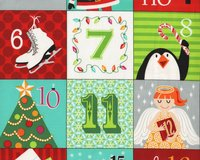 90-cm-Patchworkstoff-Abschnitt, Adventskalender A CHRISTMAS WISH,...