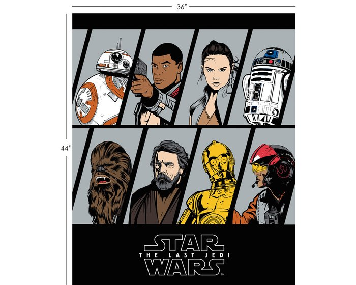 90-cm-Panel Patchworkstoff STAR WARS: THE LAST JEDI, Hauptcharaktere, schwarz-gelb