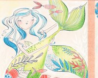 60-cm-Rapport Patchworkstoff MERMAID DAYS,...