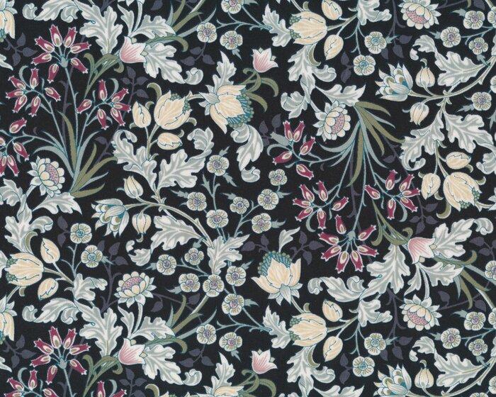 Patchworkstoff MORRIS, Blumenranken, schwarz-graugrün