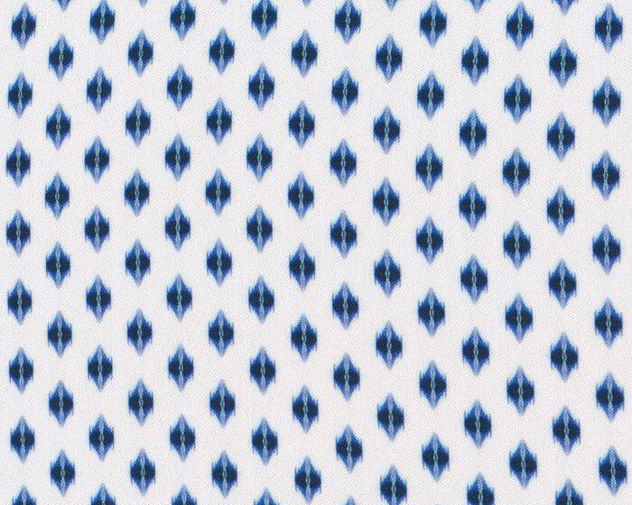 Viskosekrepp VAIANA, Ikat-Rauten, weiß-blau