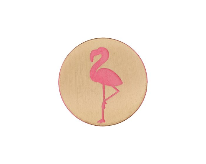 Metallknopf FLAMINGO, pink-gold, Union Knopf 15 mm
