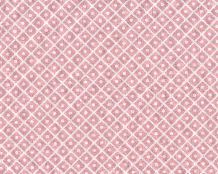 Westfalenstoff KYOTO, Rauten mit Punkt, hellrosa-wollweiß