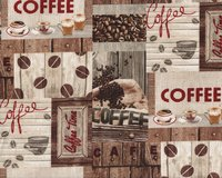 Patchworkstoff COMMON GROUNDS, Kaffee-Bilder, natur-dunkelbraun