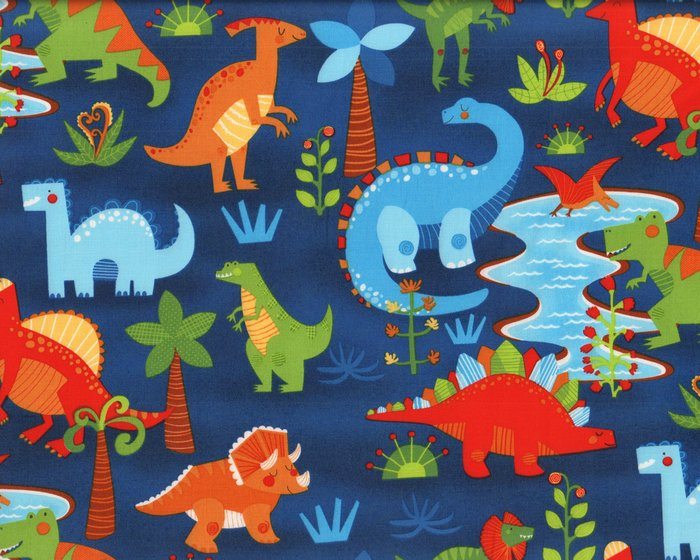 Patchworkstoff DANDY DINOS, Dinosaurier, dunkelblau-rot