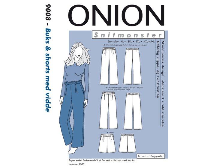 Hose oder Shorts mit Bundfalten, PLUSGRÖSSE, Schnittmuster ONION 9008