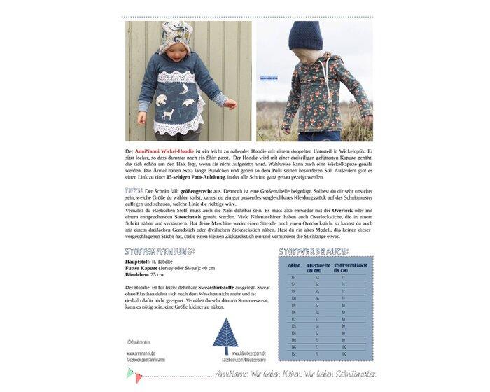 Kinder-Schnittmuster WICKEL-HOODIE, Blaubeerstern