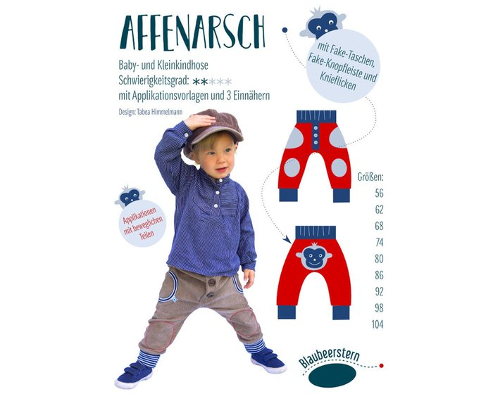 Kinder-Schnittmuster AFFENARSCH, Blaubeerstern