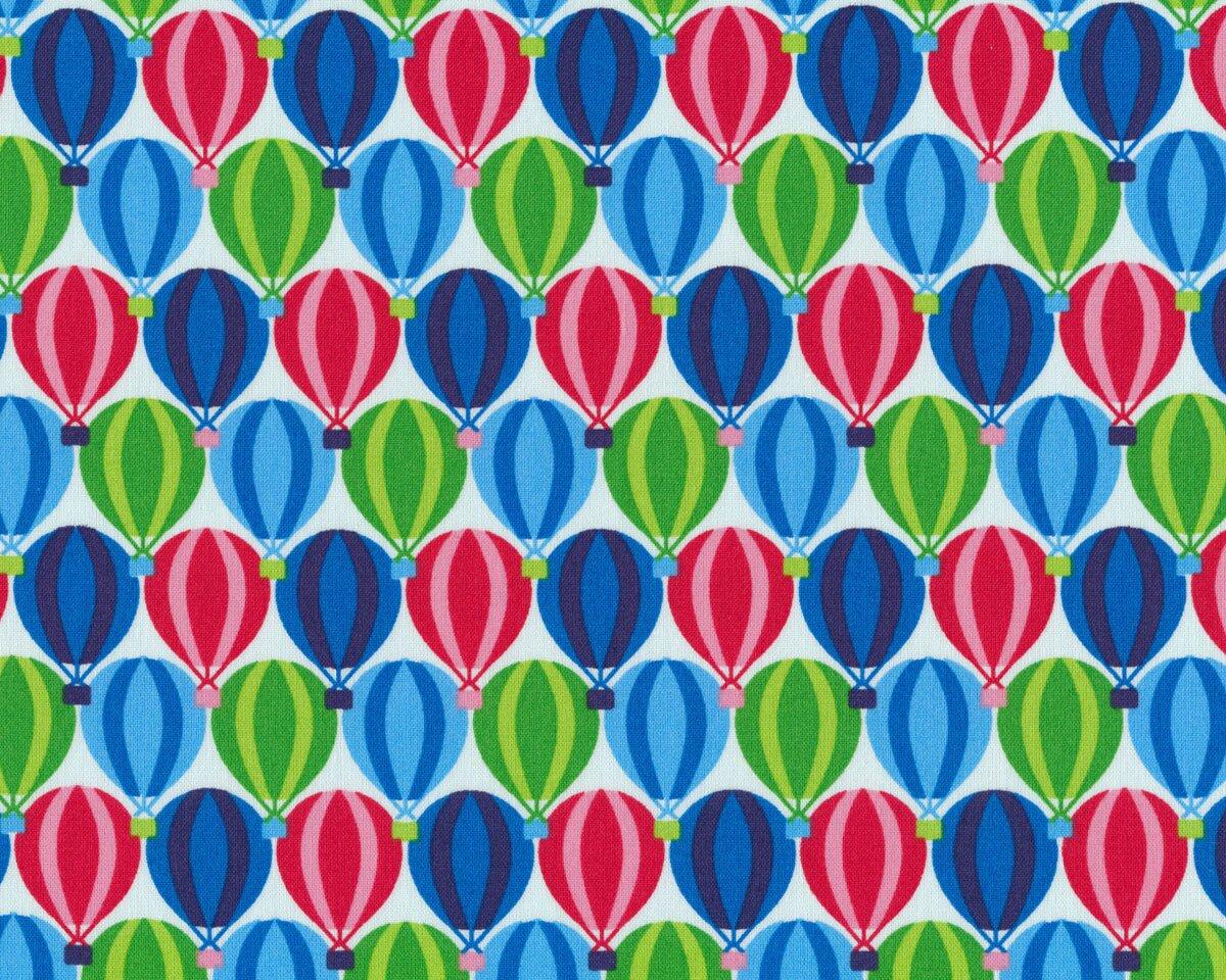 Westfalenstoff JUNGE LINIE, Heißluftballons, aquablau-grün