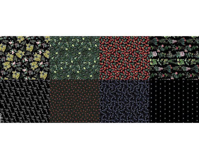 1,90-m-Panel Fat Quarter NO WEEDS HERE, Gartenmotive, schwarz