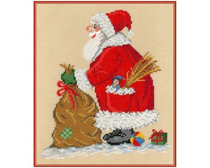 Stickvorlage: Carl Gustav mit Weihnachtsmann, Stickizz