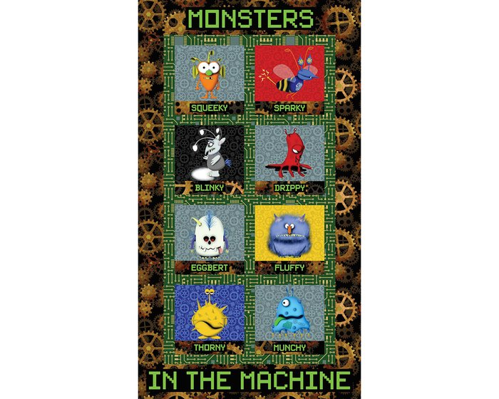 60-cm-Rapport Patchworkstoff MATTHEWS MINI MONSTERS, Monster