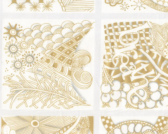 90-cm-Panel Patchworkstoff TANGLE TIME, gold