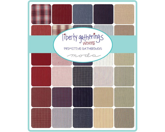 Patchworkstoff LIBERTY GATHERINGS WOVENS, Karo-Design, beige-rot