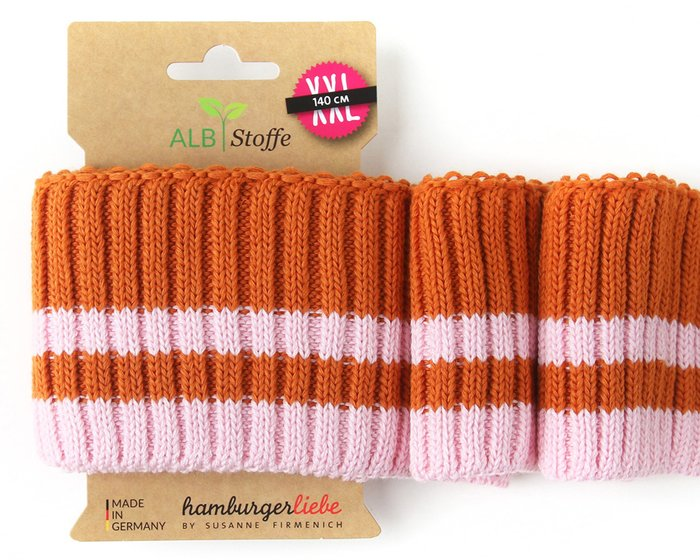 Bio-Bündchen CUFF ME COZY STRIPE, orange-rosa