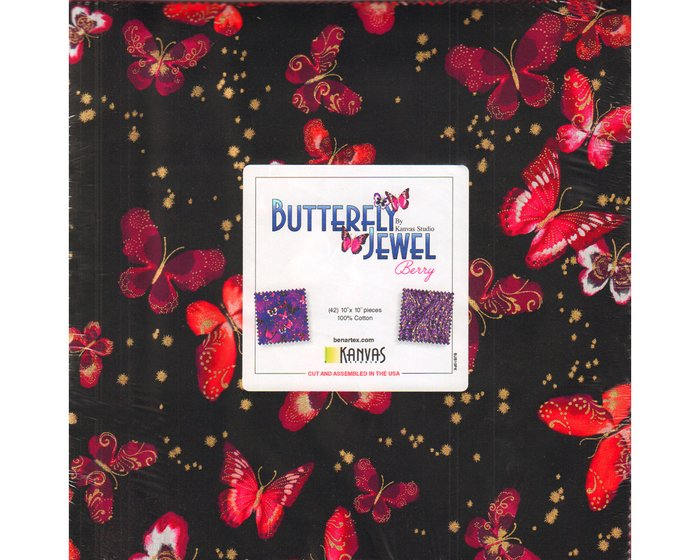 Precuts Layer Cake BUTTERFLY JEWEL, 42 Quadrate, lila