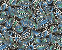 Patchworkstoff CAT-I-TUDE, Paisleys, jeansblau-gold