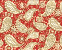 Metallic-Patchworkstoff JUBILEE, Paisleys, rot-gold