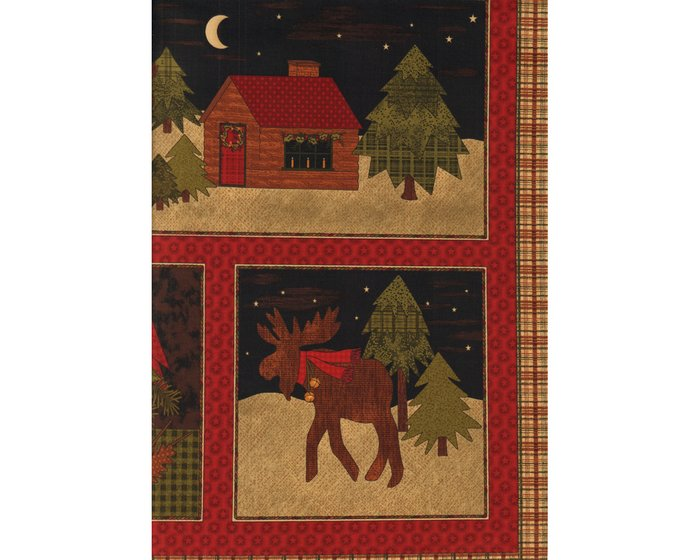60-cm-Panel Patchworkstoff A MOOSE FOR CHRISTMAS, Weihnachts-Bilder