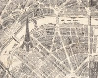 Patchworkstoff DESTINATION PARIS, Stadtplan, creme-grau
