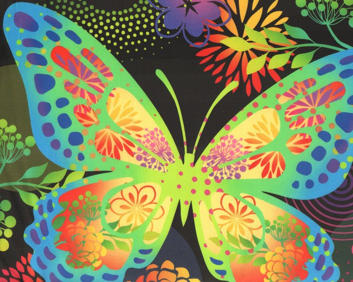 95-cm-Panel Patchworkstoff UNUSUAL GARDEN II, Panel, schwarz, In The Beginning