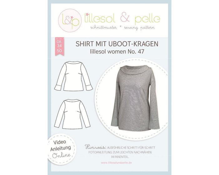 Damen-Schnittmuster Shirt mit Uboot-Kragen, lillesol women No.47