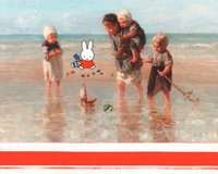 50-cm-Panel Baumwolljersey MIFFY®, Kinder am Strand, orange