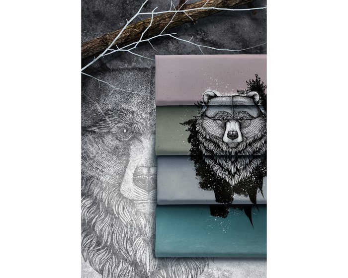 85-cm-Panel Sweatstoff GRIZZLY by Thorsten Berger, grau