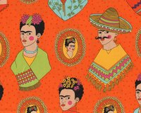 Patchworkstoff FRIDA KAHLO, Porträts, orange, Alexander...