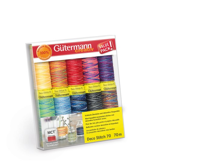 Zierstichfadenset DECO STITCH 70, multicolour, 10 Garne, Gütermann