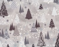 Metallic-Patchworkstoff ITS SNOWFLAKE, Winterwald, silber...