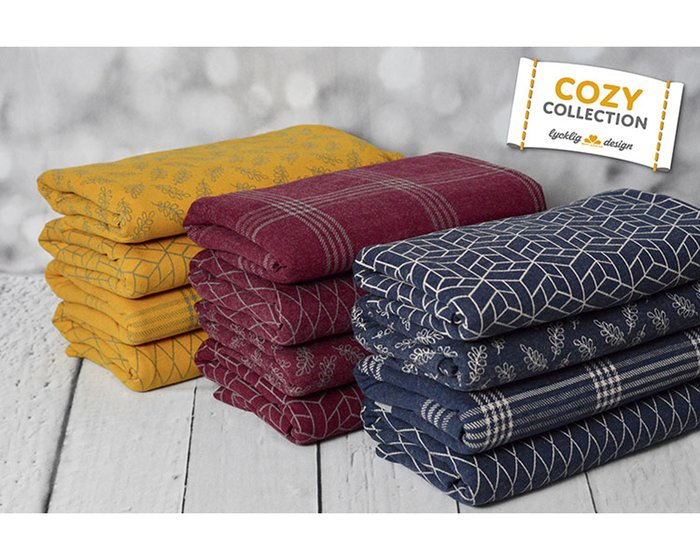Jacquardjersey COZY COLLECTION, Würfel-Geometrie, goldgelb, Lycklig Design