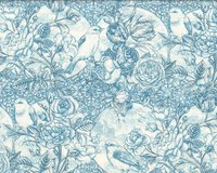 Patchworkstoff BIRD TOILE, Rosenhecke mit Vogel, aqua, In...