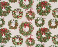 Patchworkstoff DECEMBER MAGIC, Weihnachtskränze, Blank...