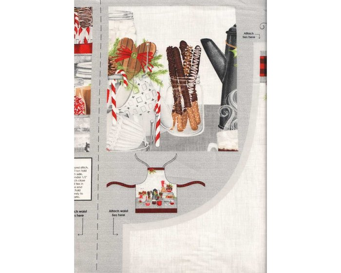 75-cm-Panel Patchworkstoff HOT COCOA BAR, Küchenschürze, Wilmington Prints