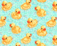 Flanell-Patchworkstoff RUB-A-RUB DUCKY, Enten, türkis,...