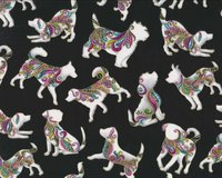 Metallic-Patchworkstoff DOG ON IT, Hunde, schwarz-gold,...