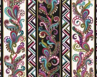Metallic-Patchworkstoff DOG ON IT, Paisley-Bordüre, Ann...